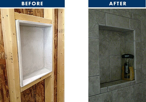 Tile Ez Standard Niches Are Designed To Fit Between Conventional 2 4 Wall Stud Openings And Incorporate A Front Overlap Of ½ Inch Permitting The Niche Face